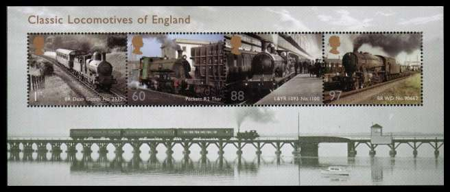 view larger image for SG MS3144 (1 Feb 2011) - Classic Locomotives of England<br/>minisheet