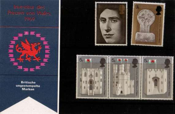 Stamp Image: view larger back view image for Prince of Wales Investiture - GERMAN