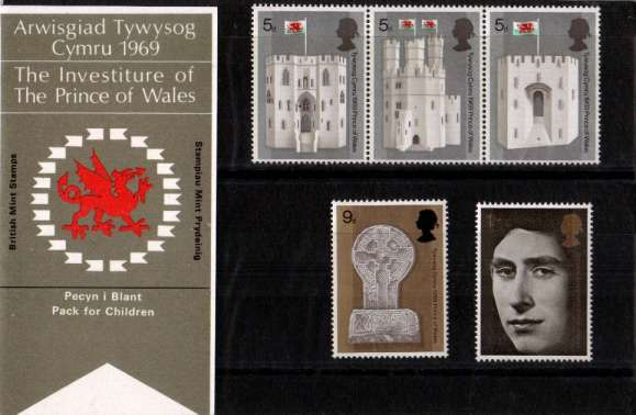 Stamp Image: view larger back view image for Prince of Wales Investiture - WELSH - for Children