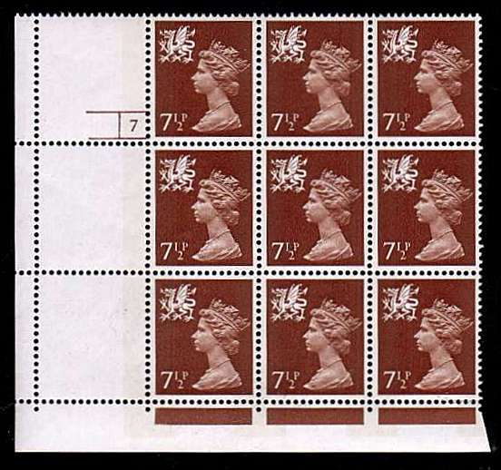 view larger image for SG W24var (1971) - <b>WALES</b> - 7�p Chestnut - Phosphorised Paper superb unmounted mint Cylinder block of nine showing a perfect comb jump resulting in two complete blank stamps and one showing the cylinder number. An amazing item!