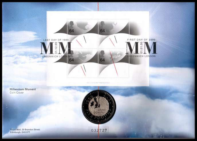 view larger image for SG RMC21 (1999) - Royal Mail and Royal Mint commemorative cover commemorating:<br/>''The Millennium'' in a special card folder - �5 coin<br/>