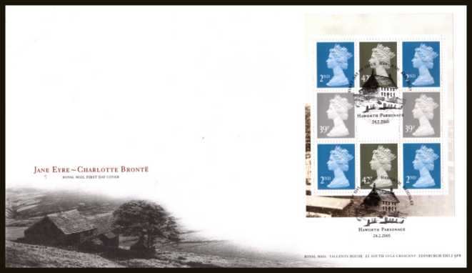 view larger back view image for Charlotte Bronte booklet pane of eight stamps on an unaddressed official Royal Mail FDC cancelled with the official alternative FDI cancel for HAWORTH - KEIGHLEY dated 24-2-2005.