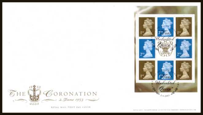 view larger back view image for The Coronation booklet pane of eight stamps on an unaddressed official Royal Mail FDC cancelled with the official alternative FDI cancel for LONDON - SW1 dated 2-6-2005.