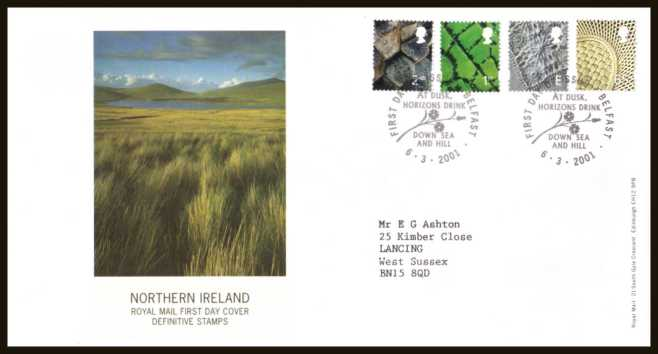 view larger back view image for NORTHERN IRELAND set of four (2nd - 65p) on a neatly typed addressed 