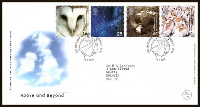 view larger back view image for Millennium Projects - 1st Series - ''Above and Beyond'' set of four on a neatly typed addressed official Royal Mail FDC cancelled with the official alternative FDI cancel for MUNCASTER - RAVENGLASS dated 18-1-2000.