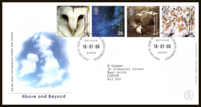 view larger back view image for Millennium Projects - 1st Series - ''Above and Beyond'' set of four on a neatly typed addressed official Royal Mail FDC cancelled with the official FDI cancel for PHILATELIC BUREAU - EDINBURGH dated 18-1-2000.