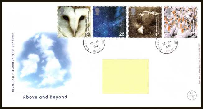 view larger back view image for Millennium Projects - 1st Series - ''Above and Beyond'' set of four on a neatly typed official Royal Mail FDC cancelled with two strikes of the steel CDS for WINDSOR CASTLE - BERKS dated 18-1-2000. Note that addressee's name covered on scan only.