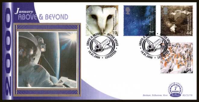 view larger back view image for Millennium Projects - 1st Series - ''Above and Beyond'' set of four on an unaddressed Benham FDC cancelled with an FDI cancel for LEICESTER dated 18-1-2000. BLCS173b Number 1272 of 2500