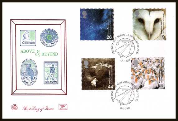 view larger back view image for Millennium Projects - 1st Series - ''Above and Beyond'' set of four on an unaddressed Stuart FDC cancelled with the official FDI cancel for MUNCASTER - RAVENGLASS dated 18-1-2000.