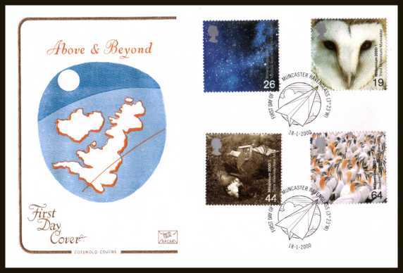 view larger back view image for Millennium Projects - 1st Series - ''Above and Beyond'' set of four on an unaddressed Cotswold FDC cancelled with the official FDI cancel for MUNCASTER - RAVENGLASS dated 18-1-2000