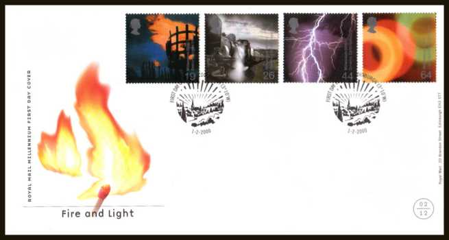 view larger back view image for Millennium Projects - 2nd Series - ''Fire and Light'' set of four on an unaddressed official Royal Mail FDC cancelled with the official alternative FDI cancel for EDINBURGH dated 1-2-2000.
