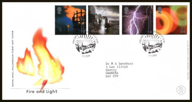view larger back view image for Millennium Projects - 2nd Series - ''Fire and Light'' set of four on a neatly typed addressed official Royal Mail FDC cancelled with the official alternative FDI cancel for EDINBURGH dated 1-2-2000.