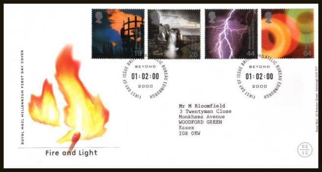 view larger back view image for Millennium Projects - 2nd Series - ''Fire and Light'' set of four on a neatly typed addressed official Royal Mail FDC cancelled with the  official FDI cancel for PHILATELIC BUREAU - EDINBURGH dated 1-2-2000.