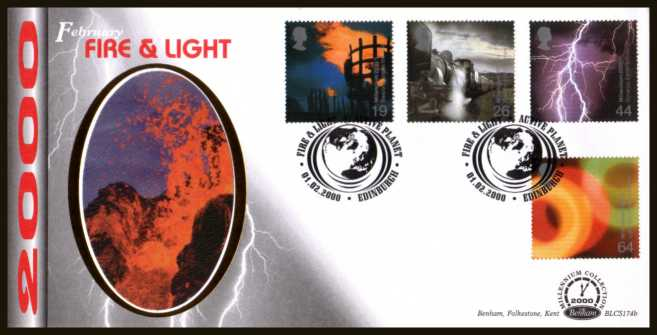 view larger back view image for Millennium Projects - 2nd Series - ''Fire and Light'' set of four on an unaddressed Benham FDC cancelled with an FDI cancel for EDINBURGH dated 1-2-2000. BLCS174b Number 1555 of 2500