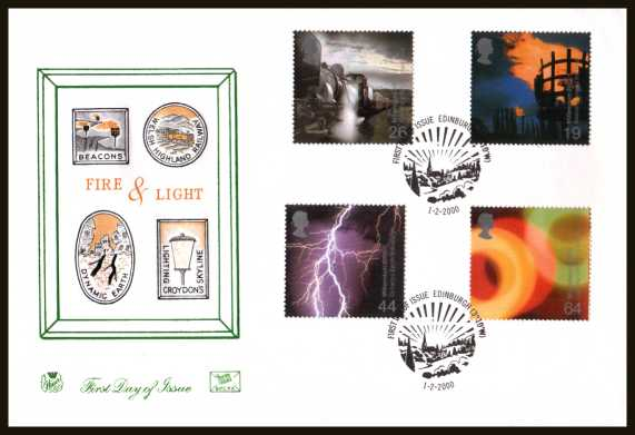 view larger back view image for Millennium Projects - 2nd Series - ''Fire and Light'' set of four on an unaddressed Stuart FDC cancelled with the official alternative FDI cancel for EDINBURGH dated 1-2-2000.