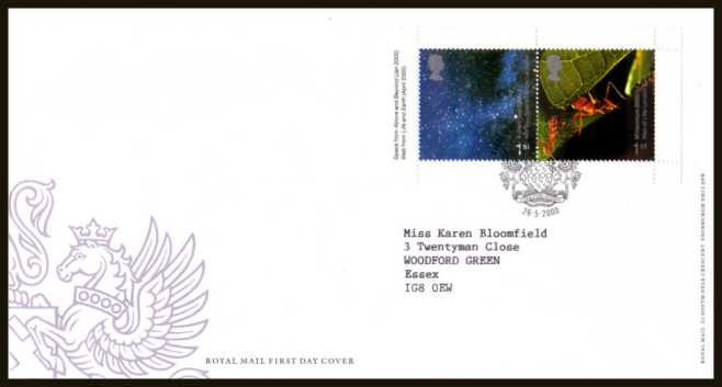view larger back view image for Millennium 'Above and Beyond' and 'Life and Earth' 1st class se-tenant booklet pane of two on a neatly typed  addressed official Royal Mail FDC cancelled with the official alternative FDI cancel for LEICESTER dated 26-5-2000.