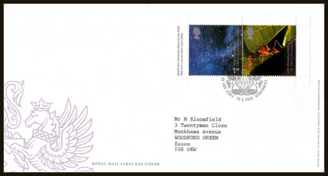 view larger back view image for Millennium 'Above and Beyond' and 'Life and Earth' 1st class se-tenant booklet pane of two on a neatly typed addressed official Royal Mail FDC cancelled with the FDI cancel for PHILATELIC BUREAU - EDINBURGH dated 26-5-2000.