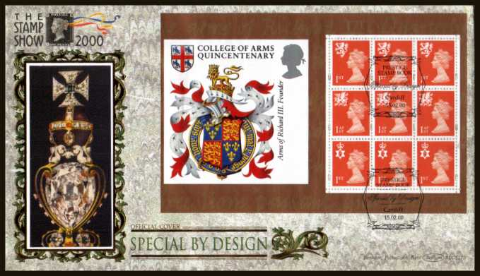 view larger back view image for 1st Class x3 x 3 Regions booklet pane from 'Special by Design' booklet on an unaddressed Benham FDC cancelled with FDI cancel for CARDIFF dated 15-2-00. BLCS175 Numbered 0169 of 2500