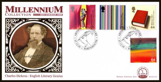 view larger back view image for Millennium Series - ''Artists' Tale'' set of four on an unaddressed Benham FDC cancelled with the alternative FDI cancel for Charles Dickens ARTISTS - LITERATURE - PORTSTMOUTH dated 07-12-99. BLCS171b Numbered 1709 of 2500