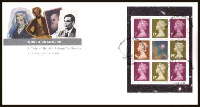 view larger back view image for ''World Changers'' Machin values booklet pane of 8 on an unaddressed official Royal Mail FDC cancelled with the official alternative FDI cancel for DOWNE - ORPINGTON dated 21-9-1999