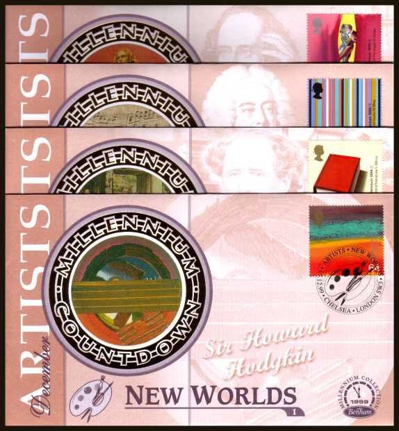 view larger back view image for Millennium Series - ''Artists' Tale'' set of four on four unaddressed Benham Silk FDC's cancelled with various FDI cancels dated 7-12-99