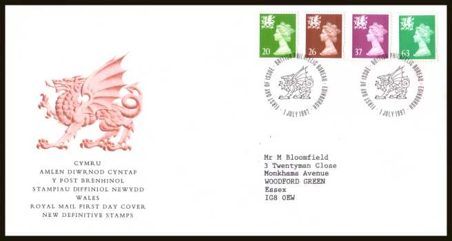 view larger back view image for WALES - 20p to 63p but WITHOUT 'P' on a neatly typed addressed official Royal Mail FDC cancelled with a PHILATELIC BUREAU - EDINBURGH cancel dated 1 JULY 1997