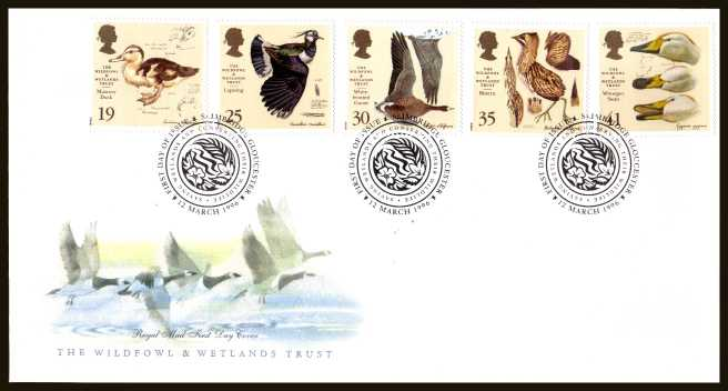 view larger back view image for Wildfowl and Wetlands Trust set of five on an unaddressed official Royal Mail FDC cancelled with the official alternative FDI cancel for SLIMBRIDGE dated 12 MARCH 1996.