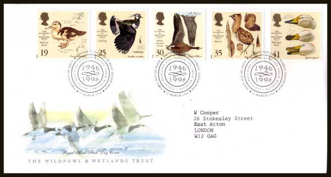 view larger back view image for Wildfowl and Wetlands Trust set of five on a neatly typed addressed official Royal Mail FDC cancelled with FDI cancel for PHILATELIC BUREAU - EDINBURGH dated 12 MARCH 1996.