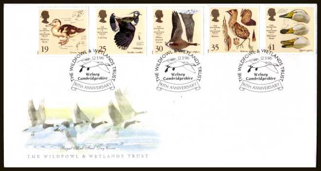view larger back view image for Wildfowl and Wetlands Trust set of five on an unaddressed official Royal Mail FDC cancelled with the special alternative FDI cancel for THE WILDFOWL & WETLANDS TRUST - WELNEY CAMBRIDGESHIRE dated 12 MARCH 1996.