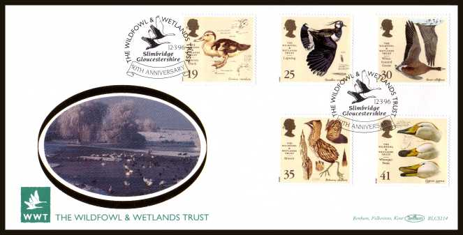 view larger back view image for Wildfowl and Wetlands Trust set of five on an unaddressed OFFICIAL WILFOWL & WETLANDS TRUST FDC cancelled with the alternative FDI cancel for SLIMBRIDGE - GLOUCESTERSHIRE dated 12 MARCH 1996. BLCS114  numbered1120 of 5000