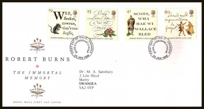 view larger back view image for Bicentenary of Robert Burns  set of four on a neatly typed addressed official Royal Mail FDC cancelled with the an ordinary FDI cancel for  SWANSEA dated 25 JANUARY 1996.