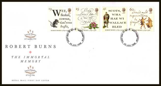 view larger back view image for Bicentenary of Robert Burns  set of four on an unaddressed official Royal Mail FDC cancelled with an ordinary FDI cancel for  NORTHAMPTON dated 25 JANUARY 1996.