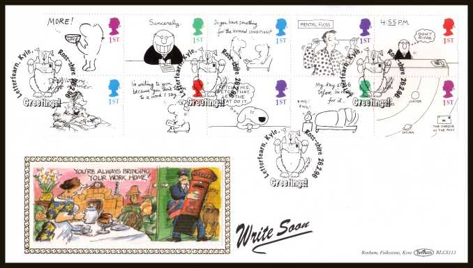view larger back view image for Greetings Stamps - Cartoons booklet pane of ten from booklet SG KX8  on an unadressed Benham FDC cancelled with the special FDI cancel for LETTERFEARN - KYLE - ROSS-SHIRE dated 26 FEBRUARY 1996. BLCS113 numbered 2145 or 5000