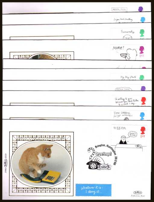 view larger back view image for Greetings Stamps - Cartoons booklet pane of ten from booklet SG KX8  on ten different Benham Small Silk FDCs cancelled with various Cat and Dog related FDI cancels  26 FEBRUARY 1996. Numbered BS5-BS14