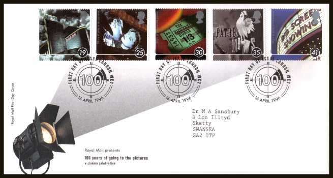 view larger back view image for Centenary of Cinema set of five on a neatly typed addressed official Royal Mail FDC cancelled with the official alternative  FDI cancel for LONDON WC2 dated 16 APRIL 1996.