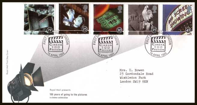 view larger back view image for Centenary of Cinema set of five on a neatly typed addressed official Royal Mail FDC cancelled with a special FDI cancel for LONDON dated 16 APRIL 1996.