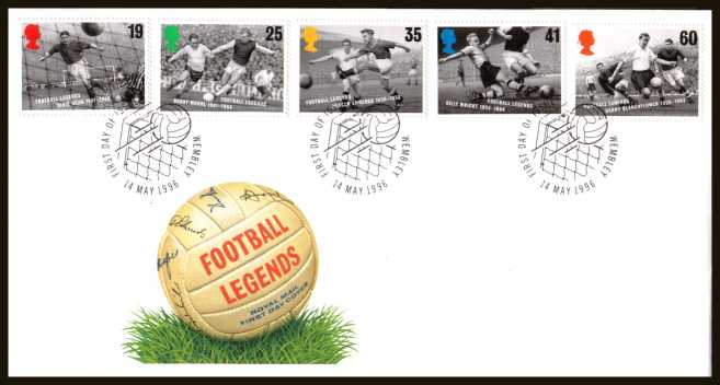 view larger back view image for European Football Championship set of five on an unaddressed official Royal Mail FDC cancelled with the official alternative FDI cancel for WEMBLEY dated 14 MAY 1996.