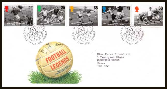 view larger back view image for European Football Championship set of five on a neatly typed addressed official Royal Mail FDC cancelled with the official alternative FDI cancel for WEMBLEY dated 14 MAY 1996.