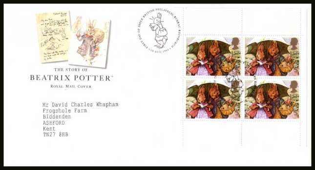 view larger back view image for Beatrix Potter commemorative booklet pane on a neatly typed addressed official Royal Mail FDC cancelled with the PHILATELIC BUREAU FDI cancel  dated 10 AUGUST 1993.