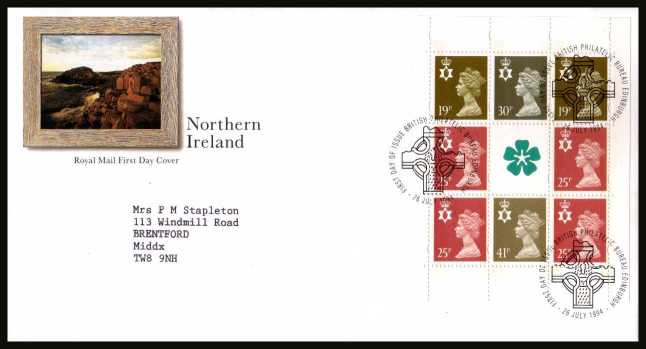 view larger back view image for Northern Ireland Machin booklet pane on a neatly typed addressed official Royal Mail FDC cancelled with a PHILATELIC BUREAU - EDINBURGH FDI cancel dated 26 JULY 1996.
