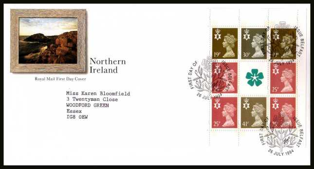 view larger back view image for Northern Ireland Machin booklet pane on a neatly typed addressed official Royal Mail FDC cancelled with alternative FDI cancel for BELFAST dated 26 JULY 1996.
