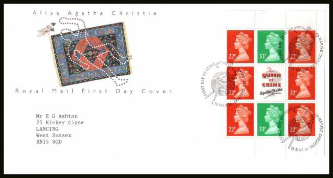 view larger back view image for Agatha Christie Machin booklet pane on a neatly typed addressed official Royal Mail FDC cancelled with the alternative FDI cancel for MARPLE - CHESHIRE dated 19 MAR 1991.