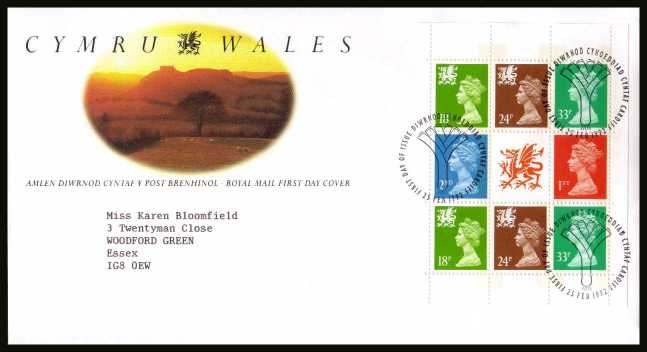 view larger back view image for Wales Machin booklet pane on a neatly typed addressed official Royal Mail FDC cancelled with the alternative FDI cancel for CARDIFF
