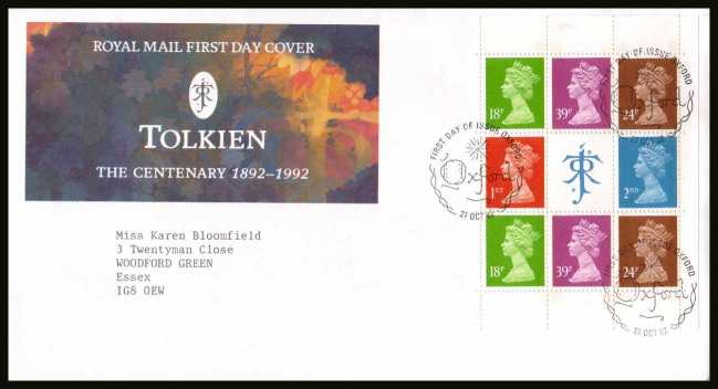 view larger back view image for Tolkien Machin booklet pane on a neatly typed addressed official Royal Mail FDC cancelled with the alternative FDI cancel for OXFORD dated 27 OCT 1992.