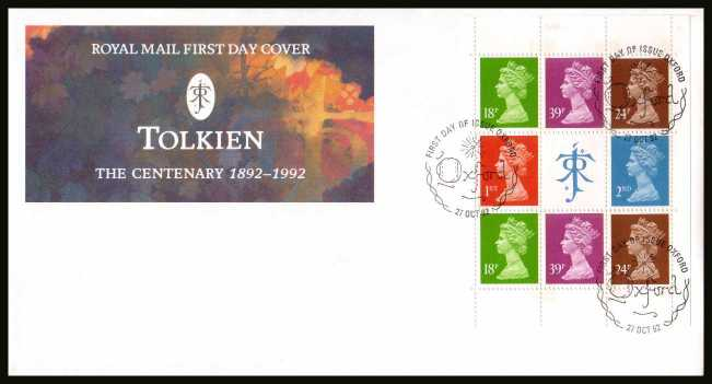 view larger back view image for Tolkien Machin booklet pane on an unaddressed official Royal Mail FDC cancelled with the alternative FDI cancel for OXFORD dated 27 OCT 1992.