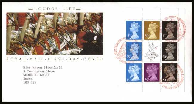 view larger back view image for ''London Life''  Machin booklet pane on a neatly typed addressed official Royal Mail FDC cancelled with the alternative FDI cancel for TOWER HILL LONDON EC3 dated 20 MAR 1990.