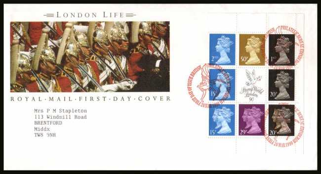 view larger back view image for ''London Life''  Machin booklet pane on a neatly typed addressed official Royal Mail FDC cancelled with the PHILATELIC BUREAU FDI cancel dated 20 MAR 1990.