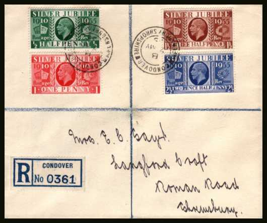 view larger back view image for King George 5th Silver Jubilee set of four on a clean and fresh unopened Registered (at CONDOVER) envelope clearly cancelled with two strikes on front and two on back of the CONDOVER - SHREWSBURY - SHROPSHIRE double ring CDS dated 7 MY 35. A gem!