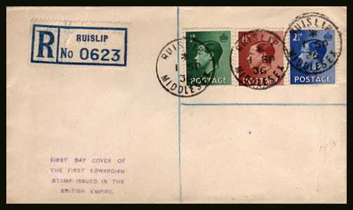 view larger back view image for King Edward 8th - �d, 1�d and 2�d values on Registered handstamp cachet unaddressed FDC  cancelled with three crisp steel CDS's dated 1 SP 36 - for RUISLIP  - MIDDLESEX