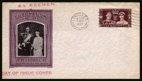 view larger back view image for Coronation single on a superb bi-colour unaddressed cover cancelled with a LONDON F. S. ''wavy line'' cancel dated 13 MAY 1937. A foreign service cancel - unusual.